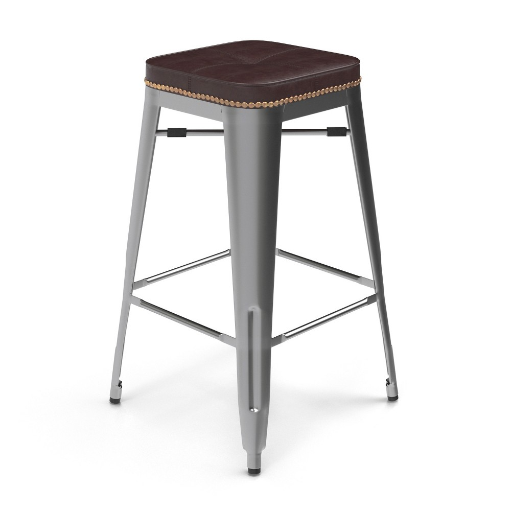 Image of 27 Griffin Backless Counter Stool Set of 2 Silver - Aeon