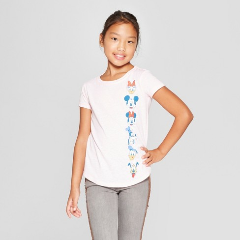 Girls' Mickey Mouse & Friends Short Sleeve T-Shirt - Light Pink - image 1 of 3