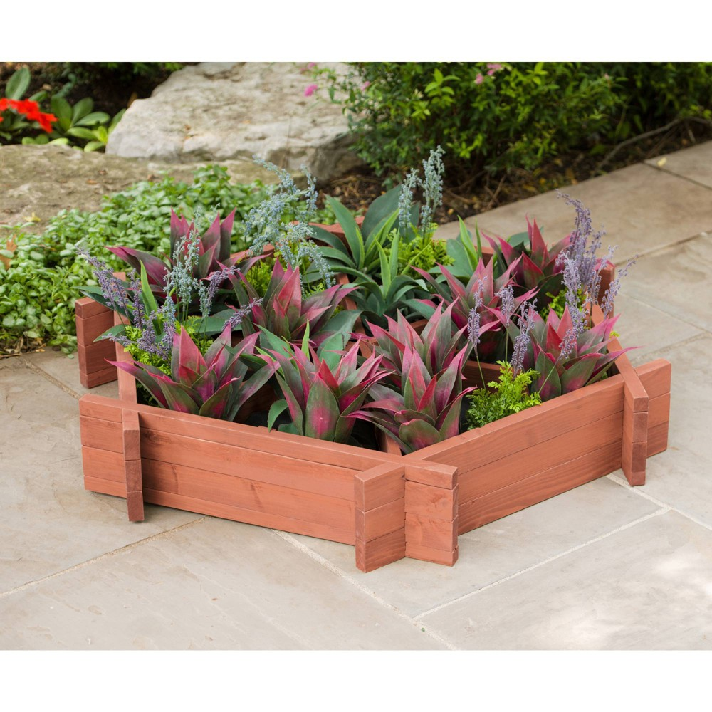 8 H Wood Planters - Brown - Leisure Season