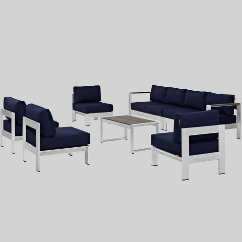 Fantastic Shore 7Pc Outdoor Patio Sectional Sofa Set Navy Modway Andrewgaddart Wooden Chair Designs For Living Room Andrewgaddartcom