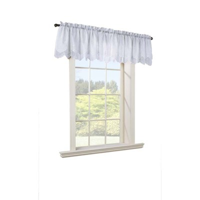 "Commonwealth Habitat Hathaway Scroll Motif size - 54""x17"" Double Scalloped Valance in Cream Color"
