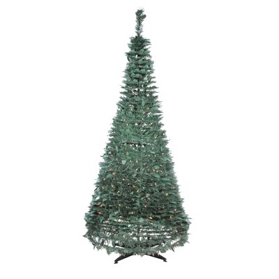 Northlight 6' Prelit Artificial Christmas Tree Slim Holly Leaf Pop-Up - Clear Lights