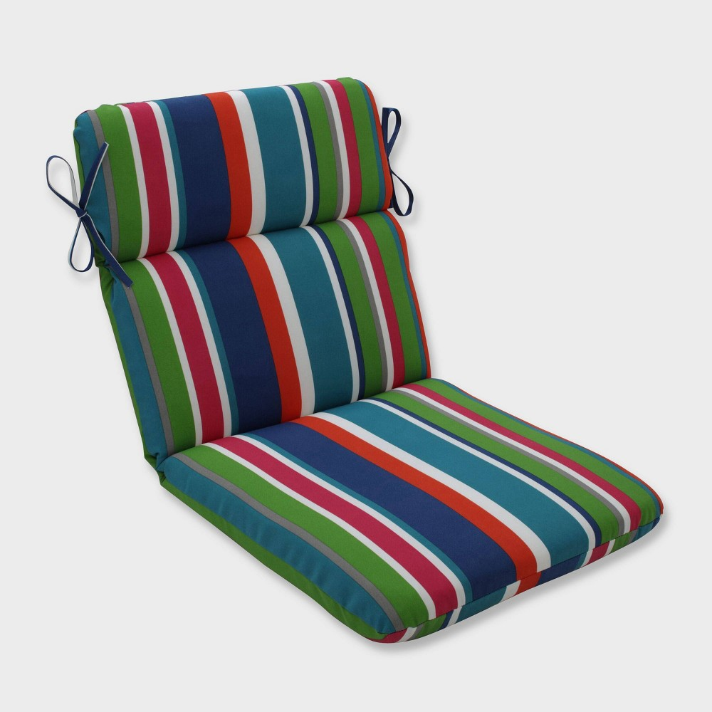 St Lucia Stripe Rounded Corners Outdoor Chair Cushion Blue Pillow Perfect