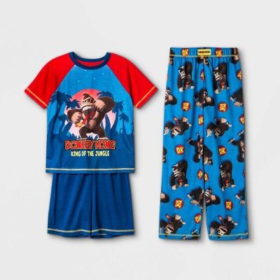 Boys' Nintendo Donkey Kong 3pc Pajama Set - Blue
