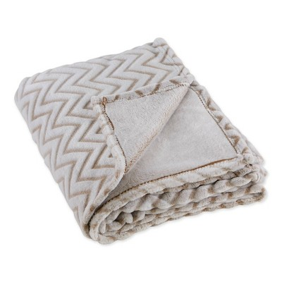 """50""""x60"""" Chevron Plush Throw Blanket Stone - Design Imports"""