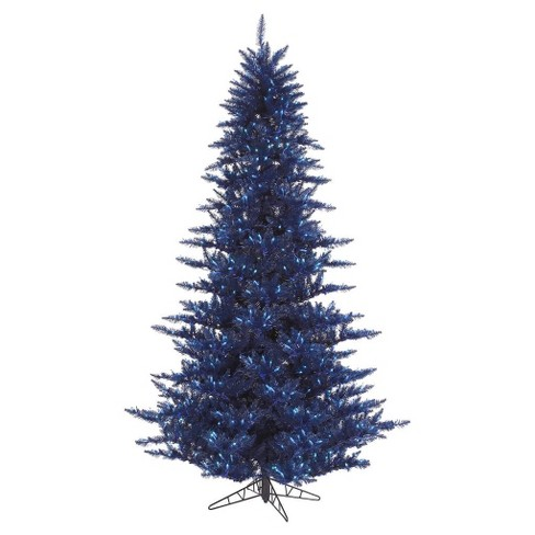 3 ft pre lit navy blue fir artificial christmas tree with blue lights and a metal stand