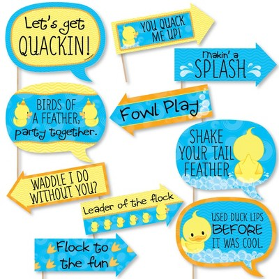 Big Dot of Happiness Funny Ducky Duck - Baby Shower or Birthday Party Photo Booth Props Kit - 10 Piece