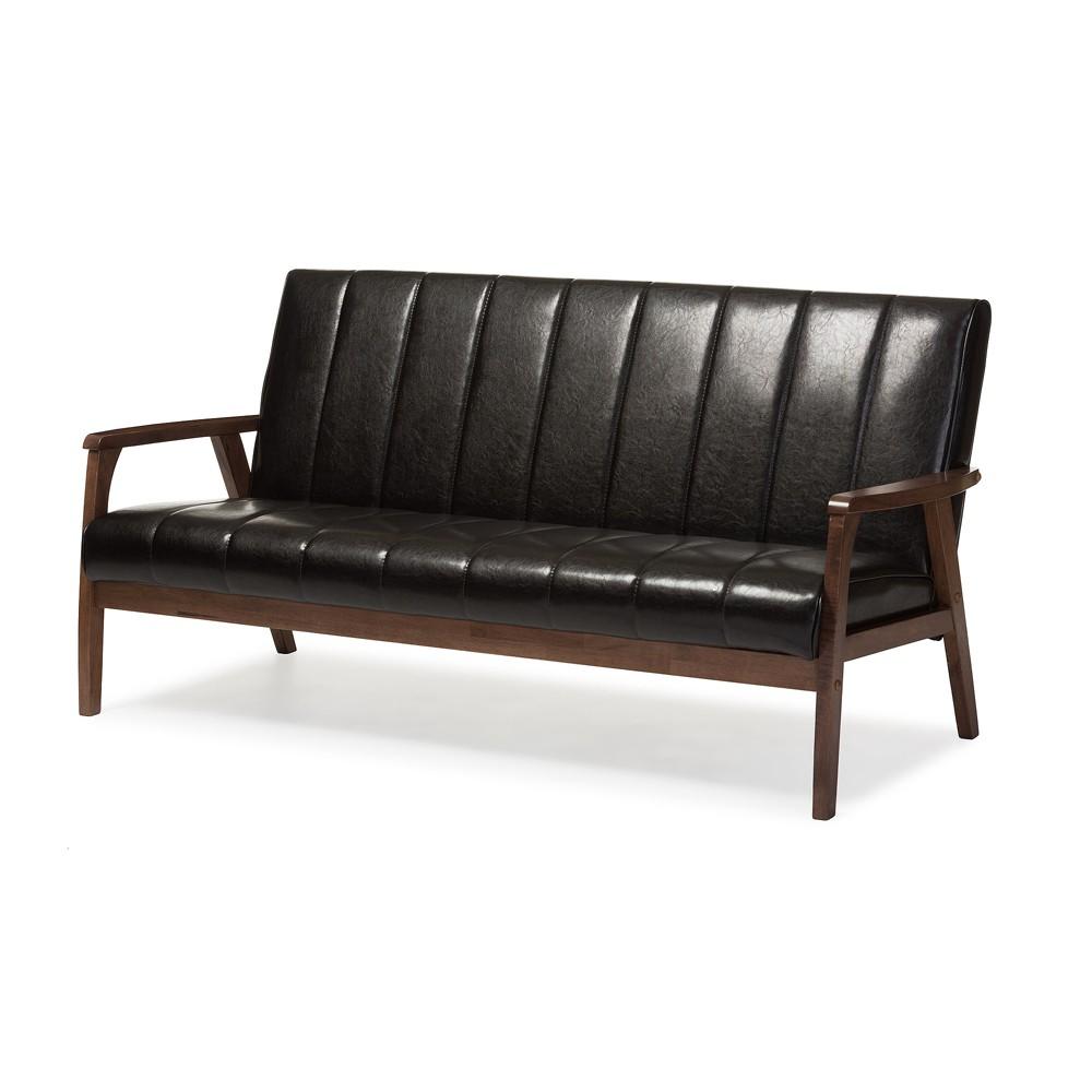 Nikko Mid - Century Modern Scandinavian Style Faux Leather Wooden 3 - Seater Sofa - Dark Brown - Baxton Studio