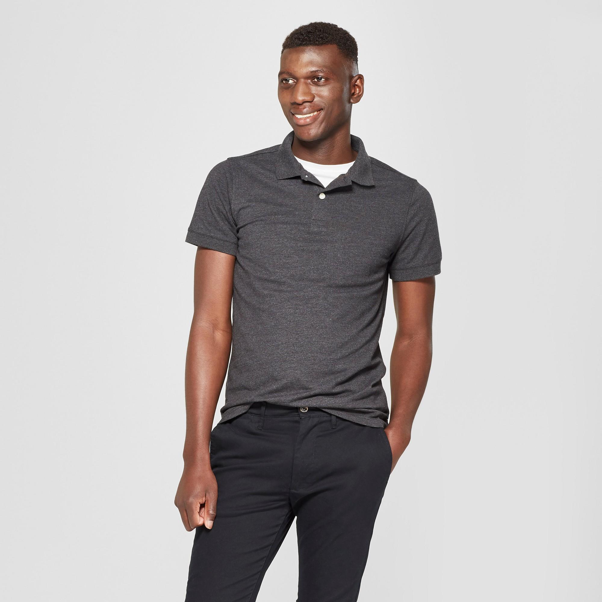 Men's Short Sleeve Slim Fit Loring Polo Shirt - Goodfellow & Co Railroad Gray L