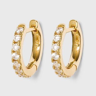 SUGARFIX by BaubleBar 14K Gold Plated Delicate Pav Huggie Hoop Earrings - Clear