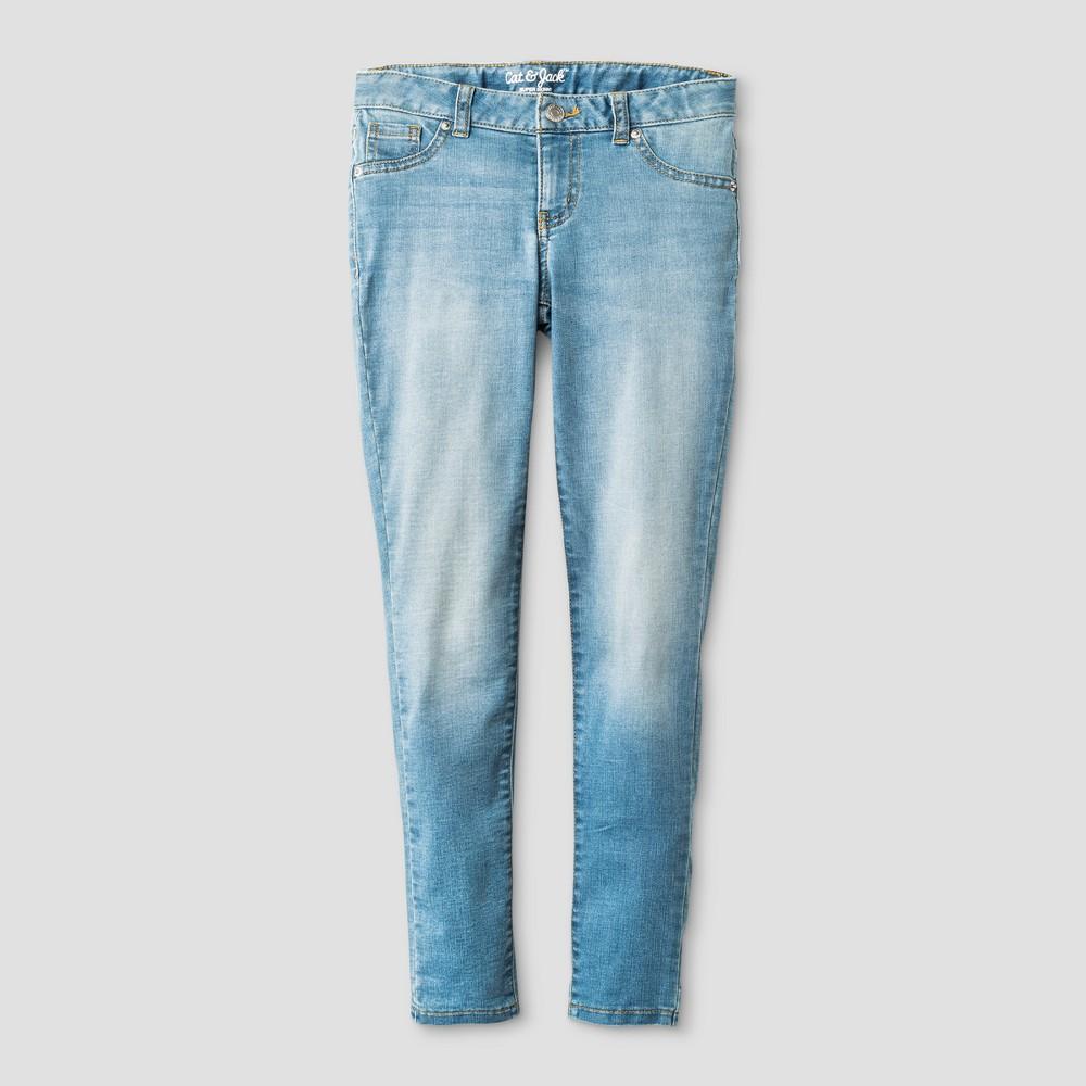 Girls' Super Skinny Jeans - Cat & Jack Light Wash 6 Slim, Blue