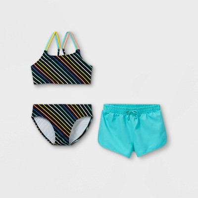 Girls' Striped 3pc Swimsuit Set - art class™