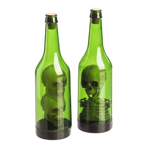 Halloween Plastic Bottle with Spooky Skull LED Décor - image 1 of 5