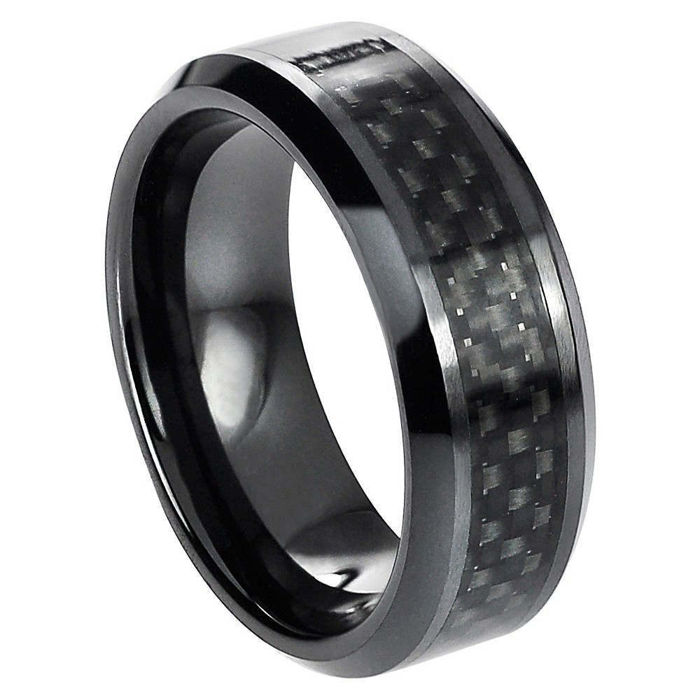 Men's Daxx Ceramic Band with Black Carbon Fiber Inlay - Black (10.5)