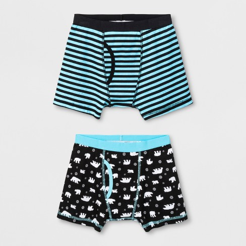Boys' 2pk Holiday Boxer Briefs - Cat & Jack™ Blue/Black - image 1 of 1