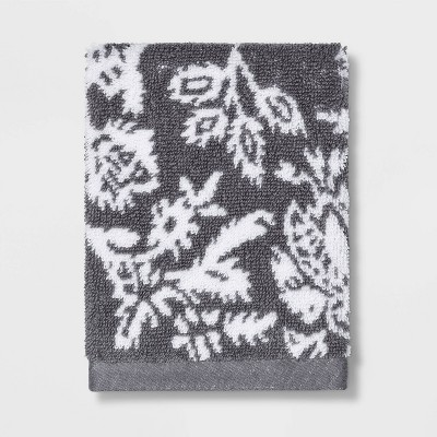 Performance Washcloth Radiant Gray Floral - Threshold™