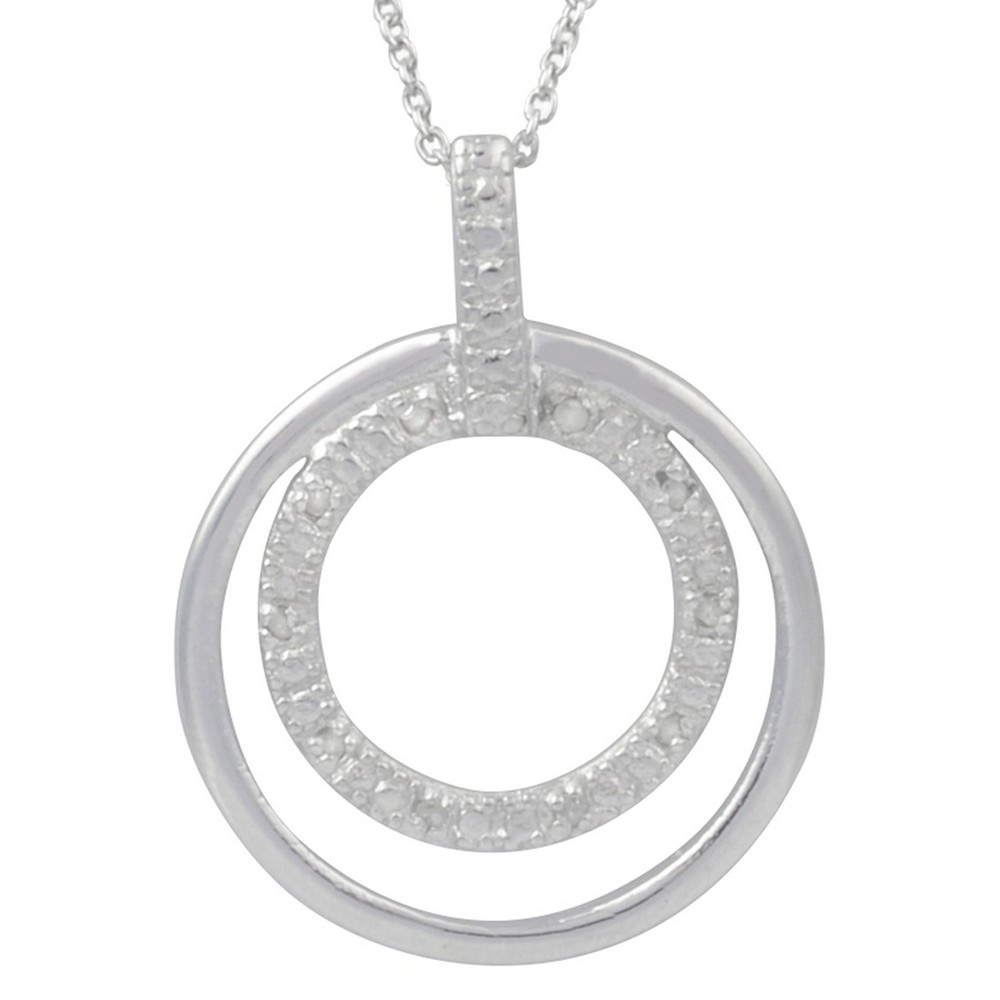 1/10 CT. T.W. Round-Cut Diamond Pave-Set Circle Necklace in Sterling Silver - Silver, Girl's