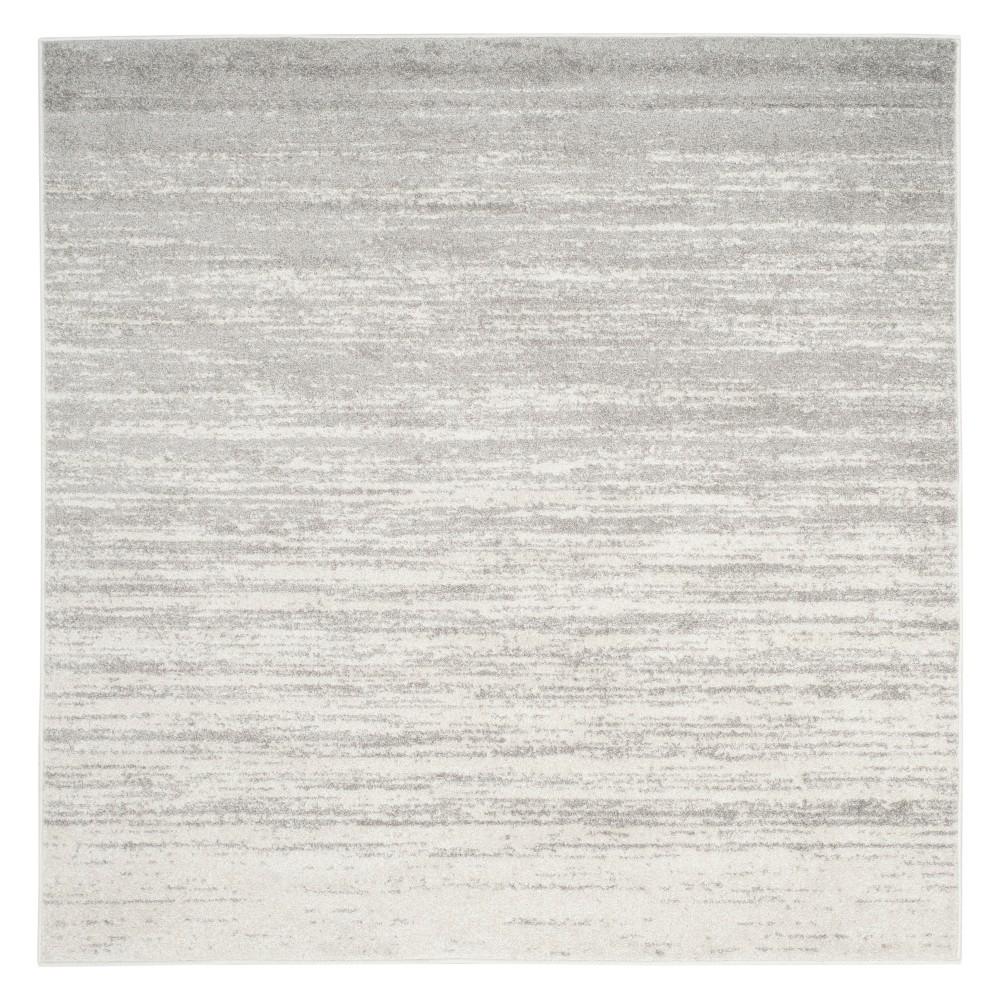 9'X9' Ombre Design Square Area Rug Ivory/Silver - Safavieh