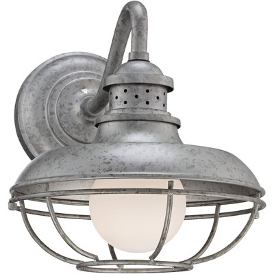 """Franklin Iron Works Farmhouse Barn Light Fixture Galvanized Steel Open Cage 13"""" White Glass Diffuser Damp Rated for Porch Patio"""