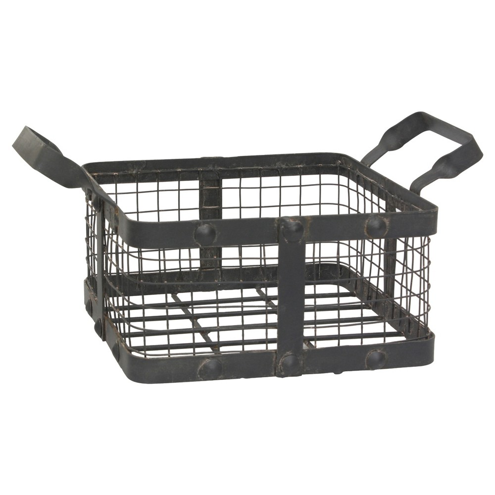 Image of Graphite & Rust Metal Basket with Rivet Trim - Ckk Home Décor, Gray