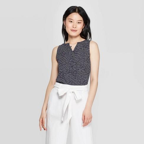 4b47babd79a86d Women's Sleeveless V-Neck Button-Down Blouse - A New Day™ Navy : Target