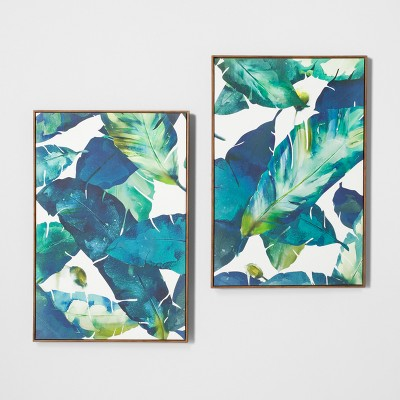 Tropical Palm 2pk Framed Wall Canvas Blue 23.2 x 35.2  - Opalhouse™