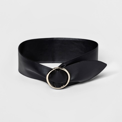 Women's Wide Sash with Circle Buckle Belt - A New Day™ Black - image 1 of 2