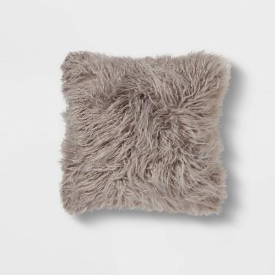 Square Faux Fur Decorative Throw Pillow Gray - Threshold™