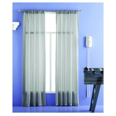 Crinkle Sheer Curtain Panel Gray - Room Essentials™