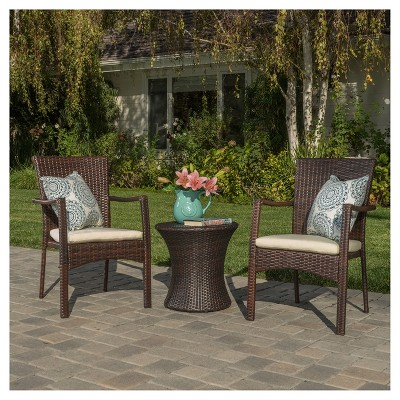 Corsica 3pc All-Weather Wicker Patio Chair Set - Brown - Christopher Knight Home