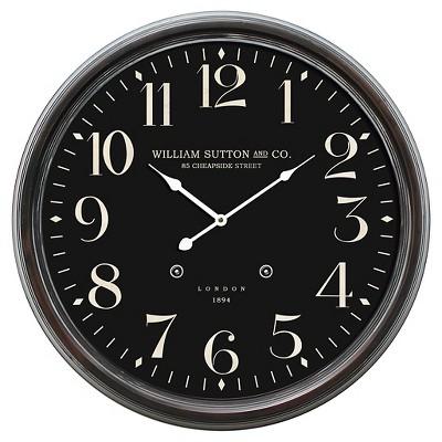 25  Round Iron Wall Clock Black - Yosemite Home Decor®