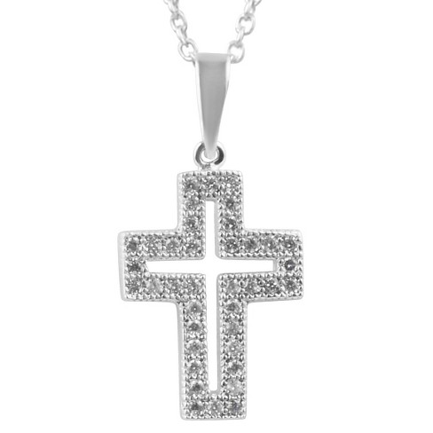 "4/5 CT. T.W. Round-cut CZ Pave Set Cross Pendant Necklace in Sterling Silver - Silver (16"") - image 1 of 2"