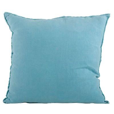 "20""x20"" Oversize Fringed Design Linen Square Throw Pillow Ocean Blue - Saro Lifestyle"