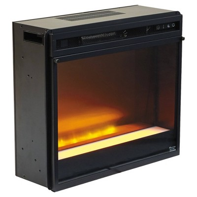 "23.75"" Electric Fireplace Insert with LED Lit Display Black - Benzara"