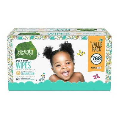 Seventh Generation Free & Clear Baby Wipes with Dispenser - 12pk/768ct Total