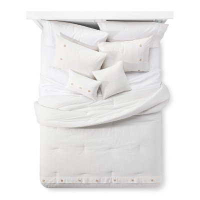 White Bailey Cotton Seersucker Multiple Piece Comforter Set (Queen)- 5-pc