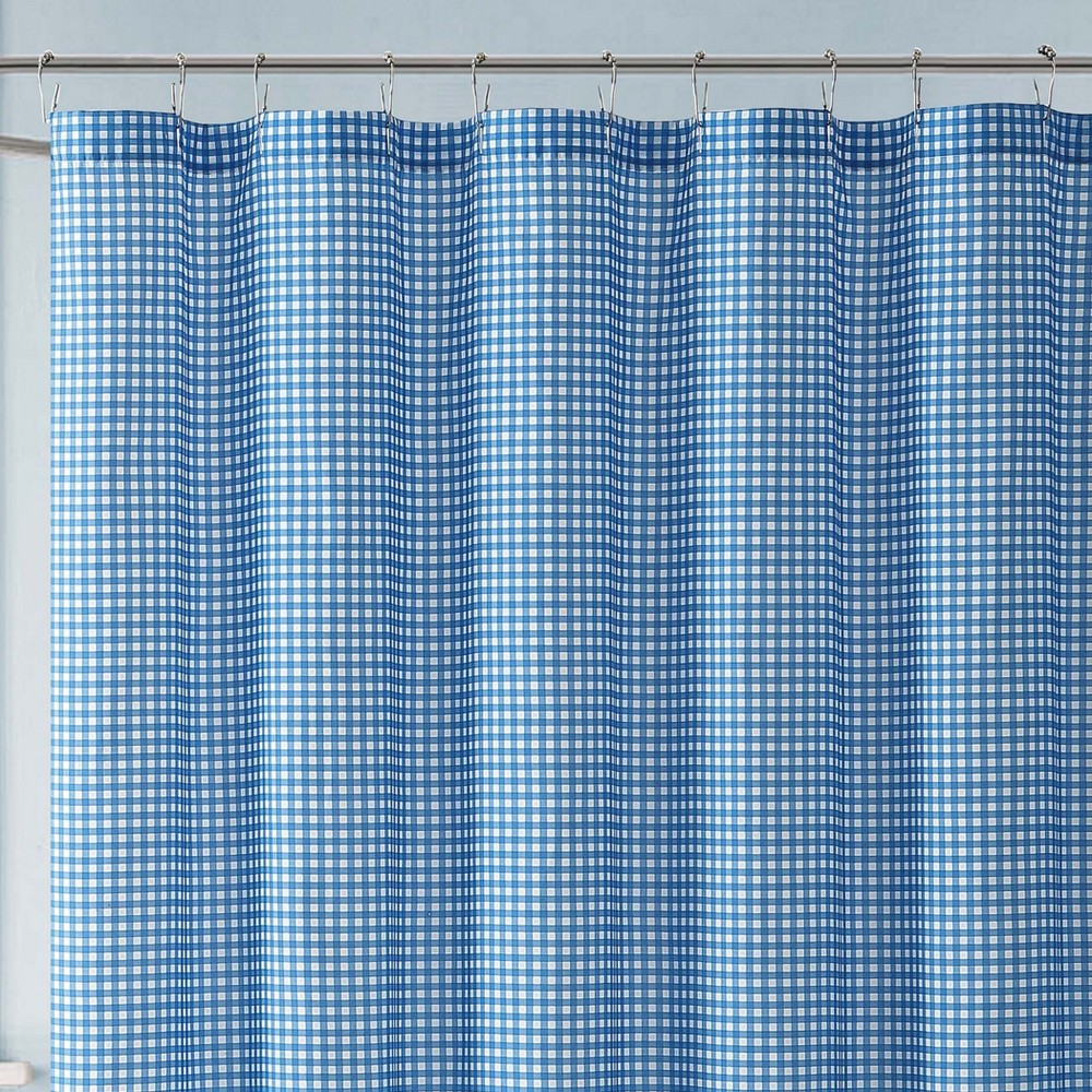 Image of Anytime Gingham Shower Curtain Blue - My World