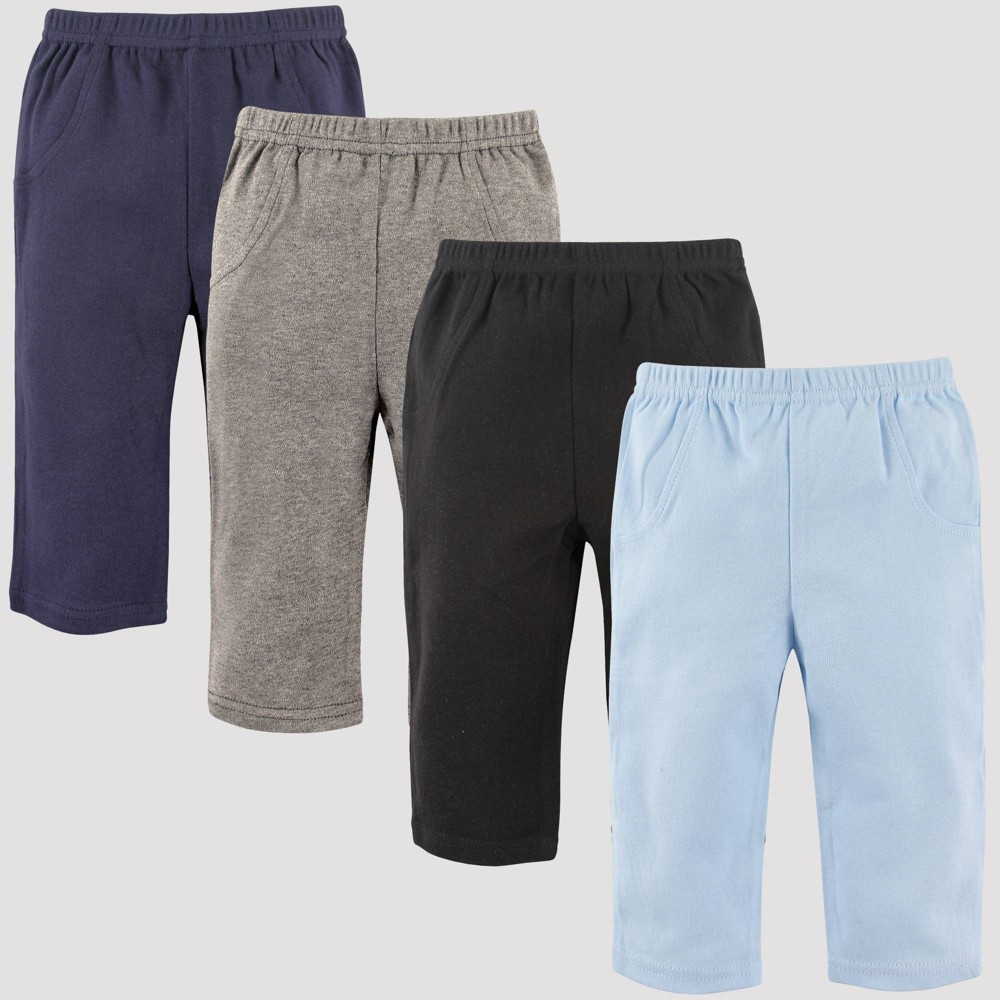 Image of Luvable Friends Baby 4pk Pull-On Pants - Black 12M, Kids Unisex, Blue