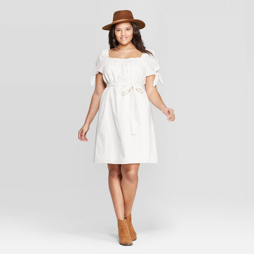 Women's Plus Size Short Sleeve Square Neck Dress - Universal Thread White 4X