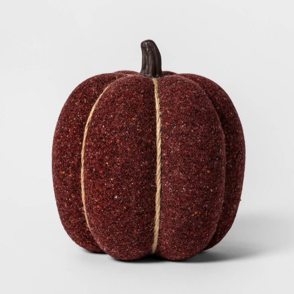 Image of Halloween Knit Burgundy Pumpkin Halloween Decoration Large - Spritz , Brown Red Beige