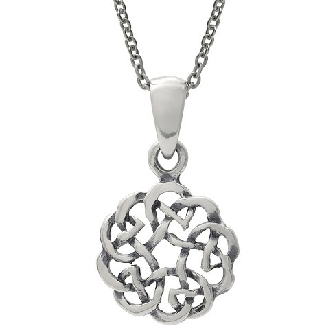 "Women's Journee Collection Celtic Circle Knot Pendant Necklace in Sterling Silver - Silver (18"") - image 1 of 1"