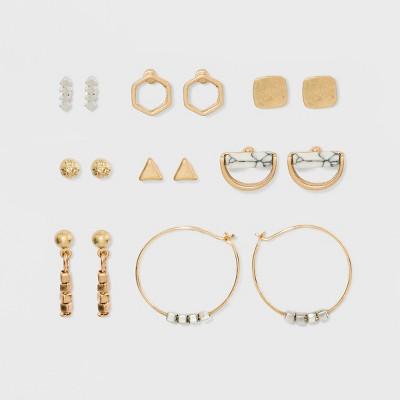 Geometric Shapes, Ball Button and Semi-Precious Howlite Earring Set 8ct - Universal Thread™ Gold