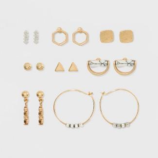 Geometric Shapes, Ball Button and Semi Precious Howlite Earring Set 8ct - Universal Thread™ Gold