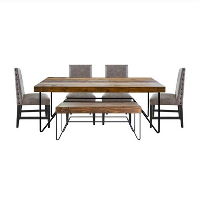 6pc Tyler Standard Height Dining Set Table, 4 Side Chairs and Bench Natural - Picket House Furnishings