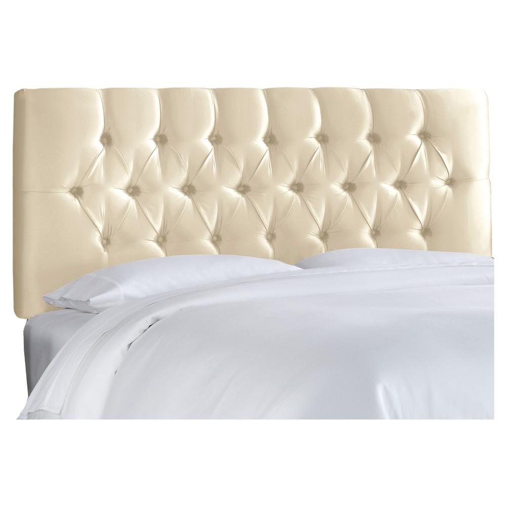 Queen Edwardian Tufted Headboard Faux Silk Shantung Parchment - Skyline Furniture