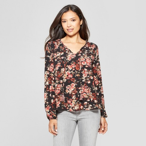 48a0f1eb2fece5 Women s Floral Print Long Sleeve Peasant Top - Knox Rose™ Black XS ...