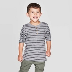 Toddler Boys' Striped Specialty Henley Thermal Long Sleeve T-Shirt - Cat & Jack™ Gray