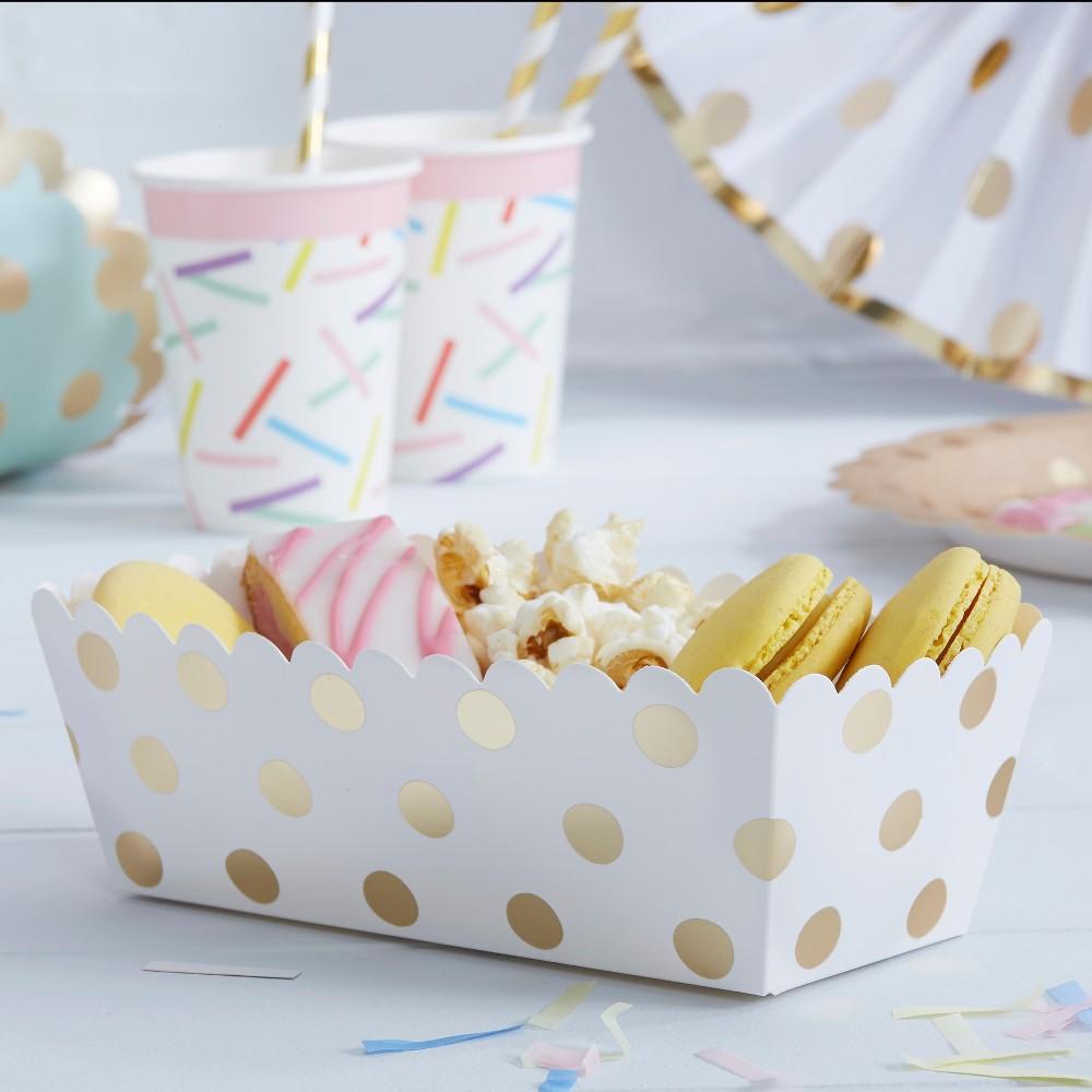 Image of 5ct Polka Dot Food Trays, White Gold