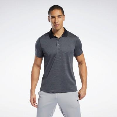 Reebok Workout Ready Striped Polo Shirt Mens Athletic T-Shirts