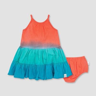 Burt's Bees Baby® Girls' Dip-Dye Dress and Diaper Cover Set - Blue 6M